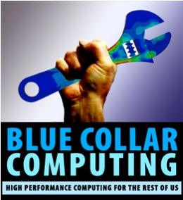 Blue Collar Computing graphic with meshed wrench.