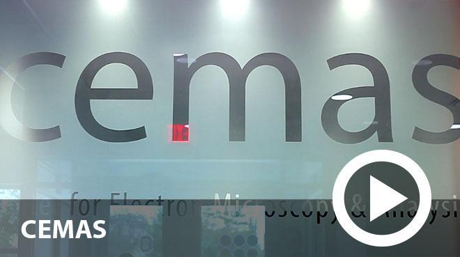 CEMAS logo on glass